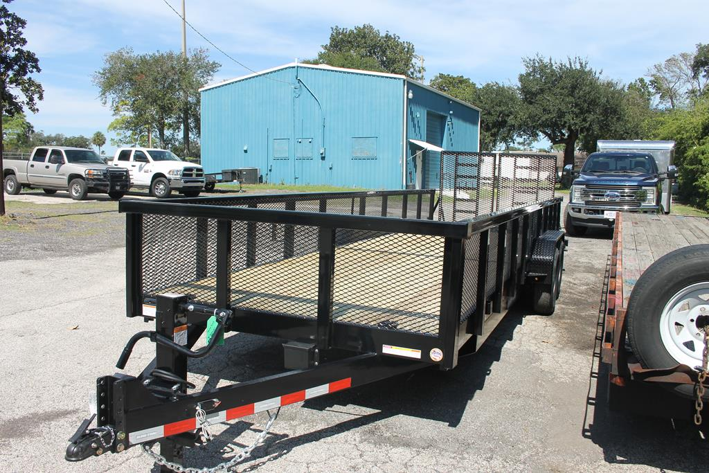 24ft Heavy Duty Equipment Utility Trailer with Mesh Sides image 1