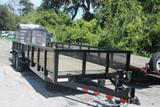 24ft Heavy Duty Equipment Utility Trailer with Mesh Sides image 1 image 2