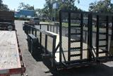 24ft Heavy Duty Equipment Utility Trailer with Mesh Sides image 1 image 2 image 3 image 4