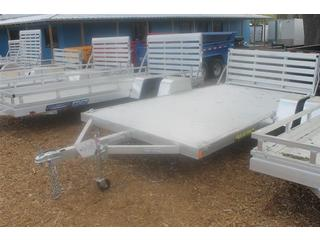 Construction Trailer with Bi Fold Gate