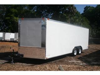 8ft x 20ft - Car Trailer - White - Ramp Door