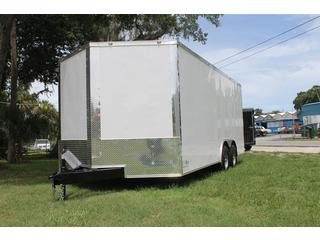 Car Hauler with White Metal Exterior
