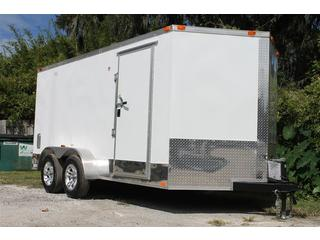 Motorcycle Trailer with Overhead Cabinets